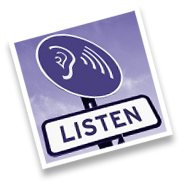 A sign witha picture of an ear saying listen